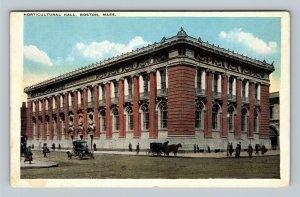 Boston MA, Horticulture Hall, Horse & Buggy Auto Vintage Massachusetts Postcard