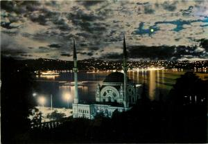 Dolmabahce Mosque & Bosphorus moonlight Turkey postcard