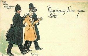 Artist impression C-1908 Comic Humor Phil May Tuck Police Drunk Postcard 20-2806