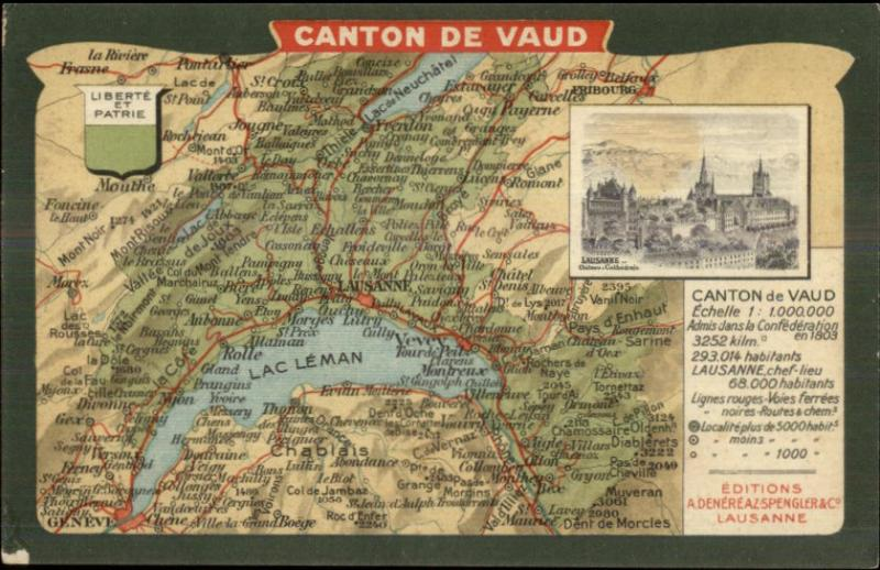 Canton de Vaud Switzerland MAP c1910 Postcard HipPostcard