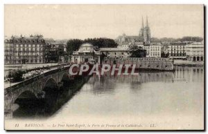 Old Postcard Bayonne Bridge St Esprit the door of France and the cathedral