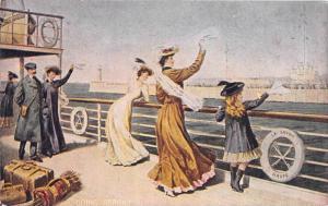 S.S.  La Savoie   CGT Line,  people on deck  waving farewell