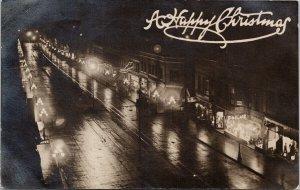 New Westminster BC 'A Happy Christmas' Night Scene Xmas Real Photo Postcard E73