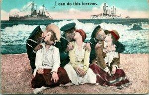 Vtg Comic Tarjeta Postal 1910s Marinero Amantes Batalla Labios Puedo Hacer La
