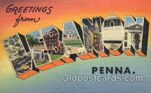 Greetings From Lebanon, Penna, USA Large Letter Town Towns Postcard Postcards...