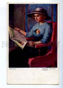 234496 Belle Lady reading Magazine by BIJELIC Vintage postcard