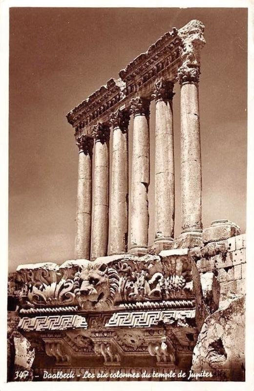 Lebanon Baalbeck - The six columns of Jupiter temple, Postcard 1923