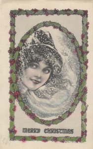 CHRISTMAS, PU-1913; Lady's face in snow storm, Holly Frame