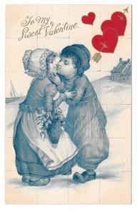 Valentine Dutch Kids Boy Girl Kissing Red Hearts 1908