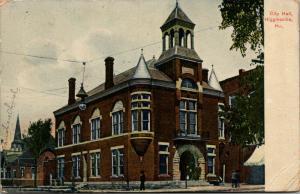 Higginsville MO~Christian Church Next to City Hall~Corner Turrets~Belltower 1908