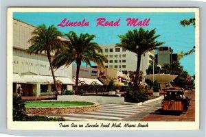 Miami Beach FL, Lincoln Road Mall, Tram Car, Chrome Florida c1963 Postcard