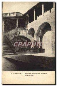 Postcard Old Gimignano Cortille del Palazzo del Podesta