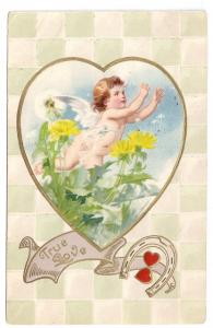 Valentine Postcard Cupid Dandelions Horseshoes True Love Vtg 1910 Winsch Back