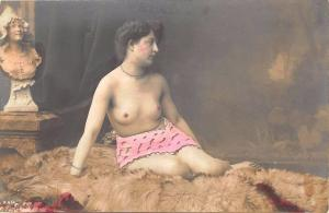 Hand Tinted Partially Nude Woman Real Photo Postcard #414