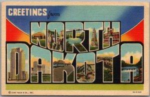NORTH DAKOTA Large Letter Postcard Multi-View / Curteich Linen c1940s Unused