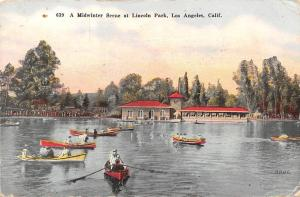 Calif. Los Angeles, A Midwinter Scene at Lincoln Park, boats bateaux