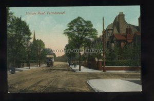 TQ3291 - Northants - A Tram on Lincoln Road in Peterborough - postcard