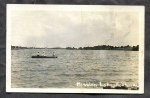 dc343 - HORTON Kansas 1940 Boating on Mission Lake Real Photo Postcard
