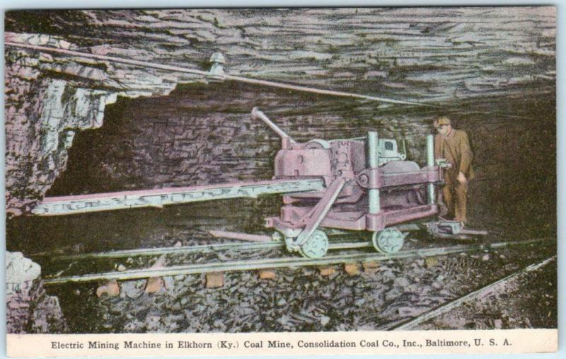 ELKHORN, Kentucky  KY   Handcolored  ELECTRIC COAL MINING MACHINE  Postcard
