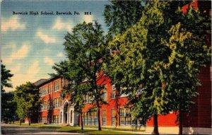 Postcard PA Pennsylvania Berwick High School Posted 1943 Linen