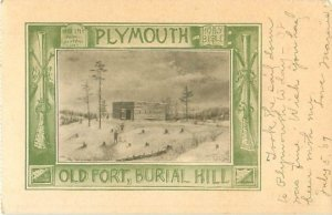 Plymouth MA Postcard Old Fort Burial Hill Photo With A Musket Frame
