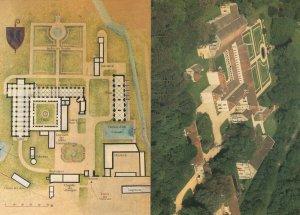 Abbaye de Fontenay 2x French Abbey Map Postcard s