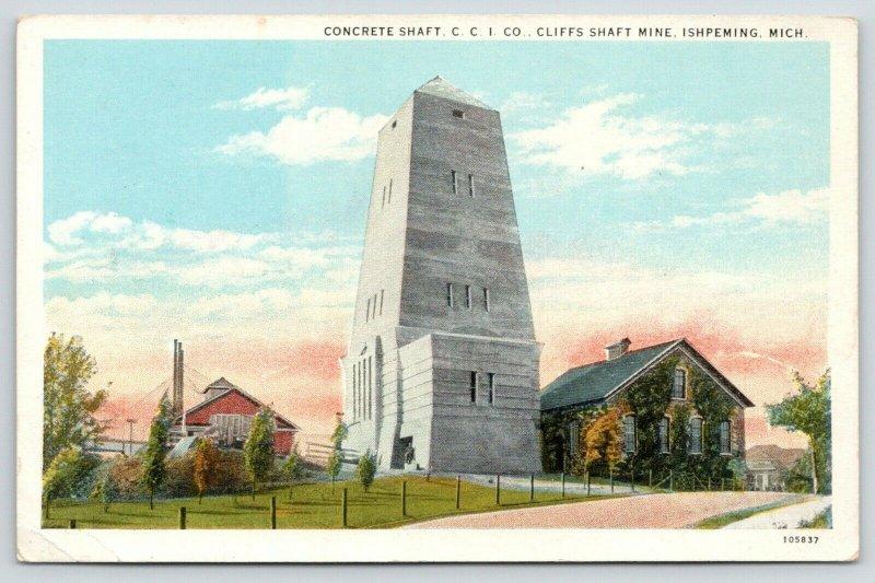 Ishpeming Michigan~Cleveland Cliffs Iron Co~Concrete Shaft~Iron Ore Mine~1920s