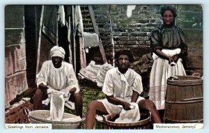 GREETINGS from JAMAICA ~ WASHERWOMEN, Jamaica 1913  Postcard