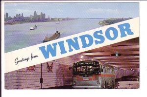 Greetings from Windsor Ontario, Freighters in Detroit River, Bu in Tunnel