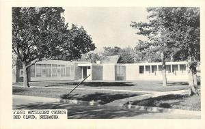 Red Cloud Nebraska~First Methodist Church~1950s B&W~WC Pine Co