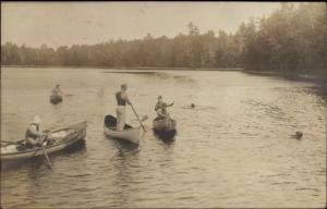 Canoes Canoeing - Possibly a North Sutton or Hampton NH Cancel 1912 RPPC