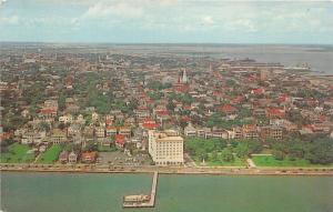 Charleston South Carolina~Battery Aerial View~Ft Sumter Hotel~Church~Bridge~'50s