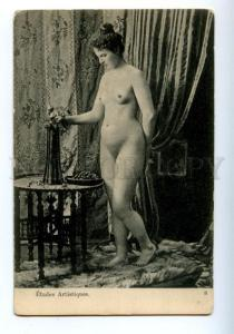 161996 NUDE Belle Woman w/ Vase ART vintage PC
