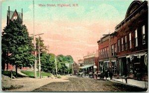 1908 Highland, New York Postcard MAIN STREET Downtown Scene / Horse Wagons