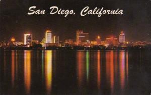 California San Diego Skyline At Night