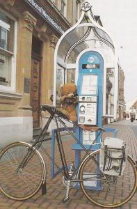 Teddy Bear at Natwest Bank Mercury Telephone Box Bicycle Postcard