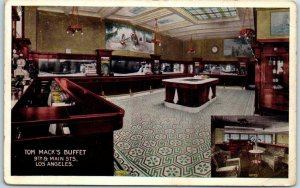 1910s Los Angeles CA Postcard TOM MACK'S BUFFET Bar View - 9th & Main Streets