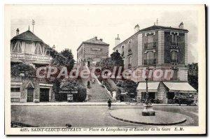 Postcard Old Saint Cloud Coteaux Place de Longchamp and the station stairs