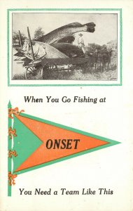 Vintage Postcard Exxageration Fishing at Onset Wareham Cape Cod MA Penant