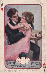 Playing Cards ; Ace of Hearts Romance Couple , PU-1910