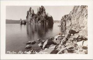Phantom Ship Crater Lake Oregon OR Unused Christian Real Photo Postcard F41