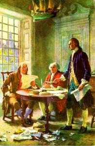 Writing The Declaration Of Independence 1776 Jefferson Adams & Franklin In Co...