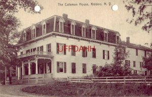 THE COLEMAN HOUSE, KIDDERS NY list of dinner guests on back, Sept 1908