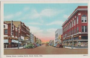 Linen NORTH PLATTE Nebraska Nebr Postcard DEWEY STREET North STORES