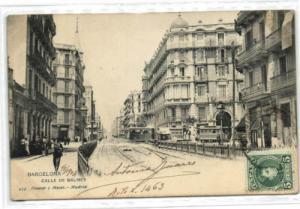 spain, BARCELONA, Calle de Balmes, TRAM (1904) Stamp