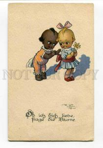 270573 Funny KIDS Lovers BLACK AMERICANA by K.V. Vintage PC