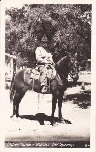 RP: Indian Guide , Warner Hot Springs , California , Mounted , Horseback ,1942