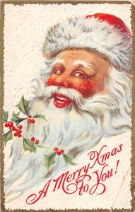C7/ Santa Claus Merry Christmas Holiday Postcard c1910 Big Smile Gold Border 35