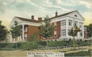 Ridgway, Pa, USA Hospital 1910 creases top left edge, small crease top right ...