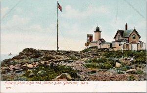 Eastern Point Light & Mother Ann Gloucester MA Lighthouse Unused Postcard G33